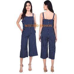 Ladies Blue Striped Dungarees