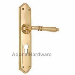 Amaziah Brass Door Handle with Plate