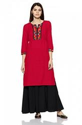 Red Ankle Length Fabindia Women's Straight Cotton Kurta