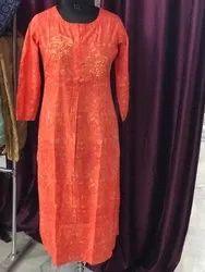 Indian handmade cotton Embroidery kurti women dress
