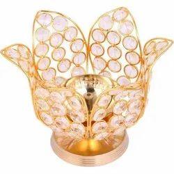 Decor Brass And Crystal Decorative Lotus Akhand Diya