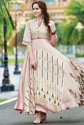 Beige Digital Print Flared Gown