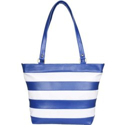 Blue and White Pu Leather Women Striped Shoulder Bags