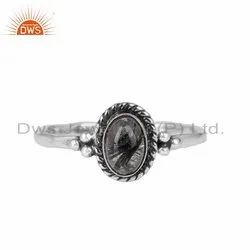Black Rutile Gemstone 925 Silver Oxidized Ring Jewelry