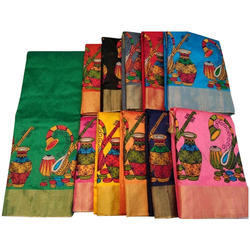 Fancy Bhagalpuri Thread Work Sarees, 5.5 m (separate blouse piece)