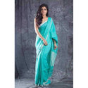 Plain Blue Linen Saree