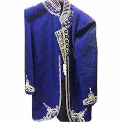 Mens Blue Velvet Indo Western Embroidered Sherwani, Packaging Type: Packet