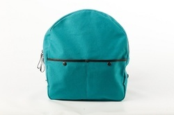 Mon Exports Blue Waxed Canvas Backpack With Leather Straps