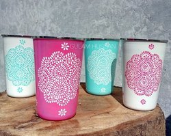 Stainless Steel Hand Painted Tumblers, For Home, Size: Assorted Enamelware