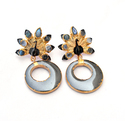 Peacock Gunmetal Screw-Back Gemstone Gold Plated Earrings