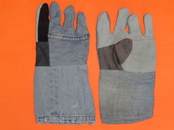 Jeans Half Leather Hand Gloves