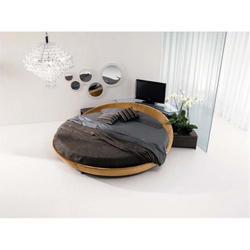 round black leather beds