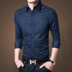 Us Paper Nevy Blue Dotted Cotton Shirt
