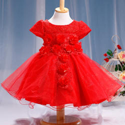 Beautiful Red Applique Party Dress