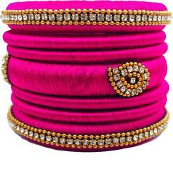 Pink silk Thread Bangle Set