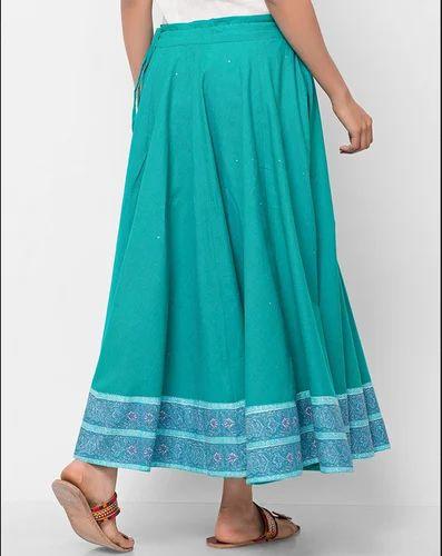 c435f3e9a Green Cotton Ghera Tassel Long Skirt 10460420, Rs 1890 /piece | ID ...