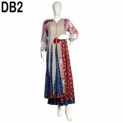 10 Cotton Hand Block Printed Women's Long Dress DB2