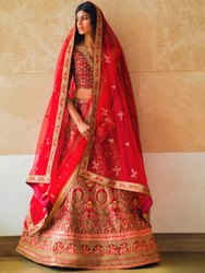 Heavy Embroidery Bridal Red Lehenga By Parvati Fabric (76645)