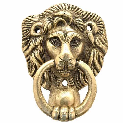 Brass Majestic Lion Door Knocker, Door Knob - Recordler Instruments ...