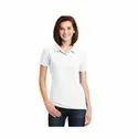 Ladies White Collar T Shirt