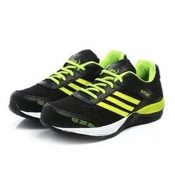 Mens Black Green Synthetic Walking Shoes