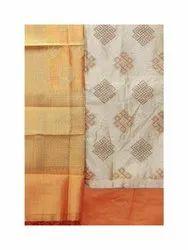Chanderi Silk Ladies Unstitched Suit, Machine Wash