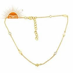Handmade Gold Plated 925 Sterling Silver CZ Necklace Jewelry