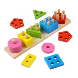 Jiada Wooden Geometric Shape Matching 5 Column Blocks Montessori Educational and Learning Toys