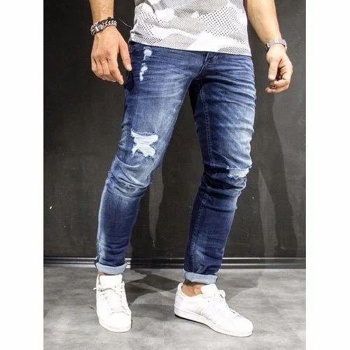 Blue Slim Fit Hip Hop Men's Jeans, Waist Size: 38, Yes, Rs 525 /piece | ID:  17036282955