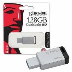 SanDisk Silver 128GB Kingston Pen Drive, Model Number/Name: Metal, Plastic