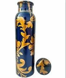 Blue printed lacquer coated copper bottle