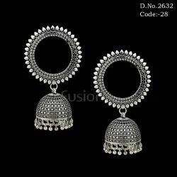 German Silver Chandelier Jhumka Earrings