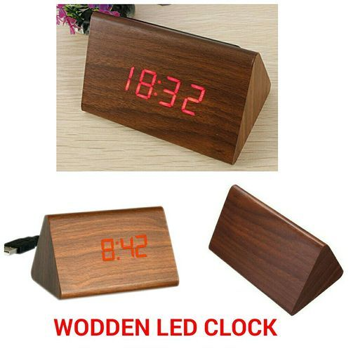 Wooden Led Alarm Digital Desk Clock With Date And Temperature Sound Control