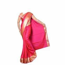 Plain Silk cotton saree, 6.3 m (with blouse piece)