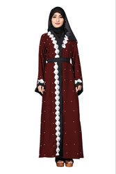 Women's Nida Front Open Style Islamic Abaya Burka with Chiffon Hijab and Waist Belt