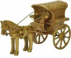 Unique Golden decorative horse cart brass handicrafts, For Decoration, Size: 7inch