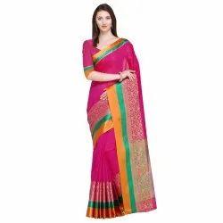 Pink Colored Cotton Silk Jacquard Maheshwari Traditional Wear Saree