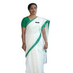 White and Green Uniform Plain Saree