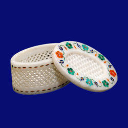 White Marble Jewellery Box Jali Work