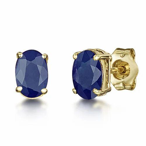Sapphire Oval Stud Earrings