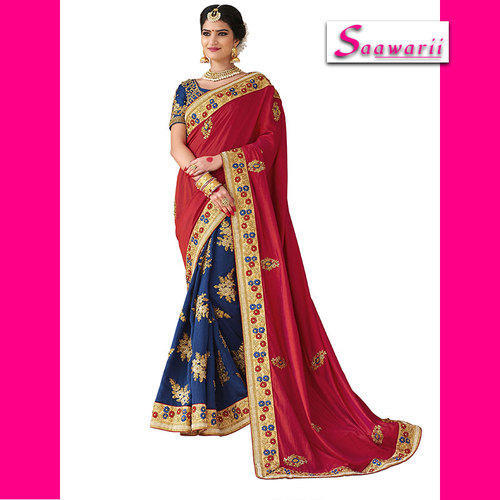 Embroidered Blue + Red Saree