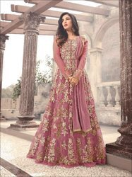 Indian Ethnic Net Embroidered Designer Party Wear Anarkali Suit