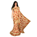Party Wear Golden And Red Embroidery Fancy Saree