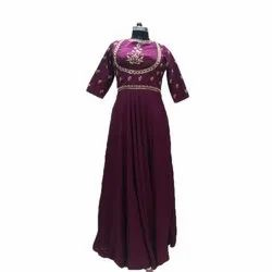 Embroidery Ladies Silk Gown
