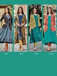 Free Style Vol-1 Rayon With Extra Ordinary Print And Style With Embroidery Designer Gown Type Kurtis