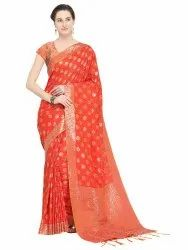 Designer Cotton Blend Weaving Saree with Blouse Piece