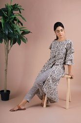 Golden Printed Cotton Daabu Double Ruffle Sleeves Dress And Pant