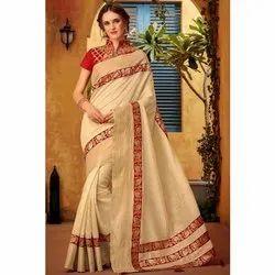 Beige Designer Party Wear Cotton Silk Saree