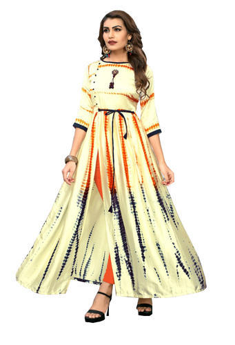 Festive Wear 3/4th Sleeves Sibori Printed Long Gown