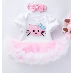 Awabox Baby Girl Cat Patch Dress